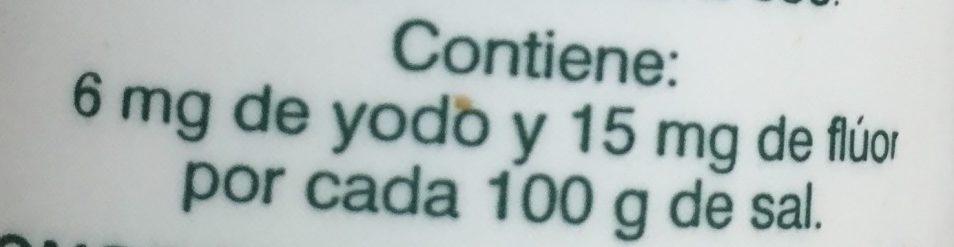 Sal Yodo Fluorada - Información nutricional - es