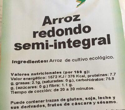 Arroz redondo semi-integral - Información nutricional - es