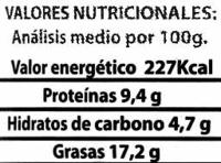 "Paté vegetal ecológico ""Línea Vercher"" Sobrasada - Información nutricional"