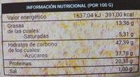 Tarta almendra cacao - Nutrition facts - es
