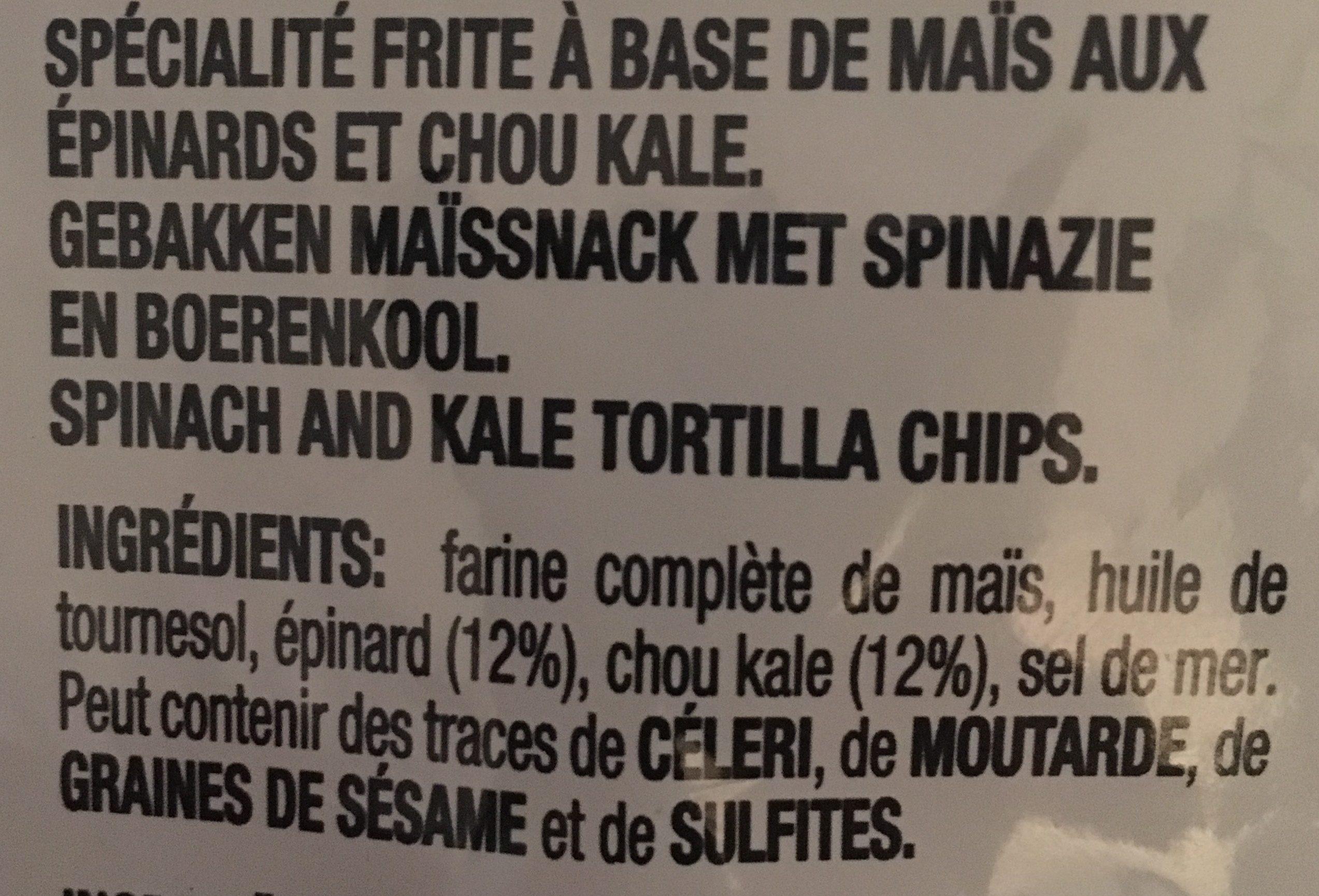 Chips de maïs Epinards et chou kale - Ingredients - fr