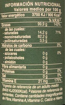 Aceite de oliva virgen extra temprano - Nutrition facts - es