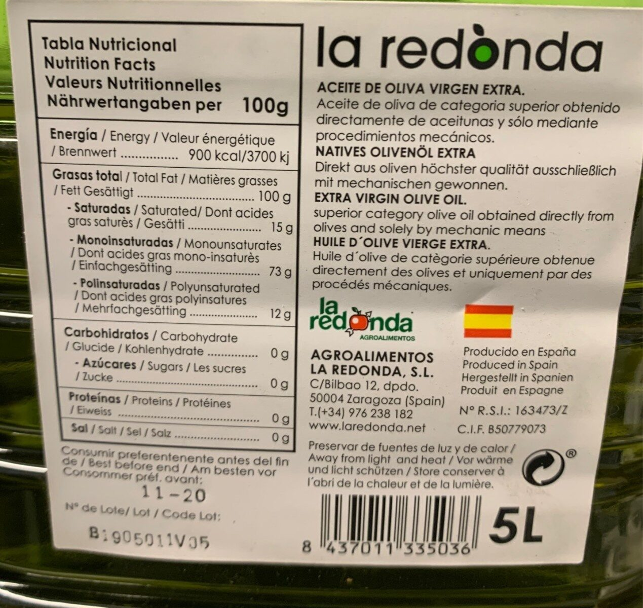 Aceite de oliva Arbequina - Informations nutritionnelles