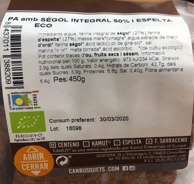 Pan de centeno integral 50% y espelta eco - Información nutricional