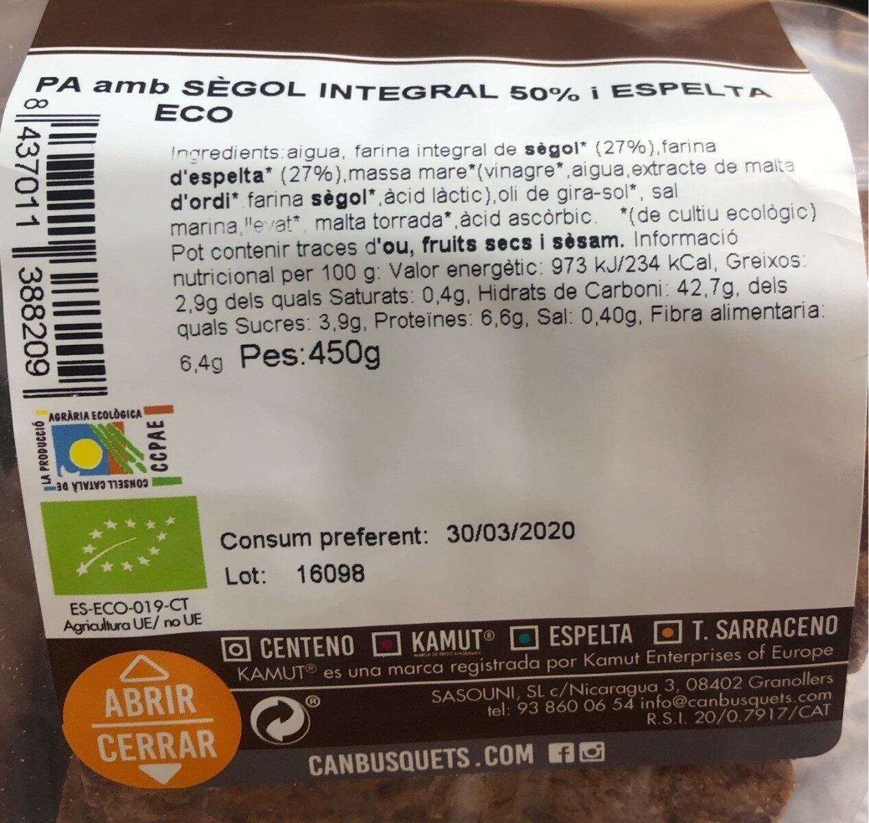 Pan de centeno integral 50% y espelta eco - Informations nutritionnelles - fr