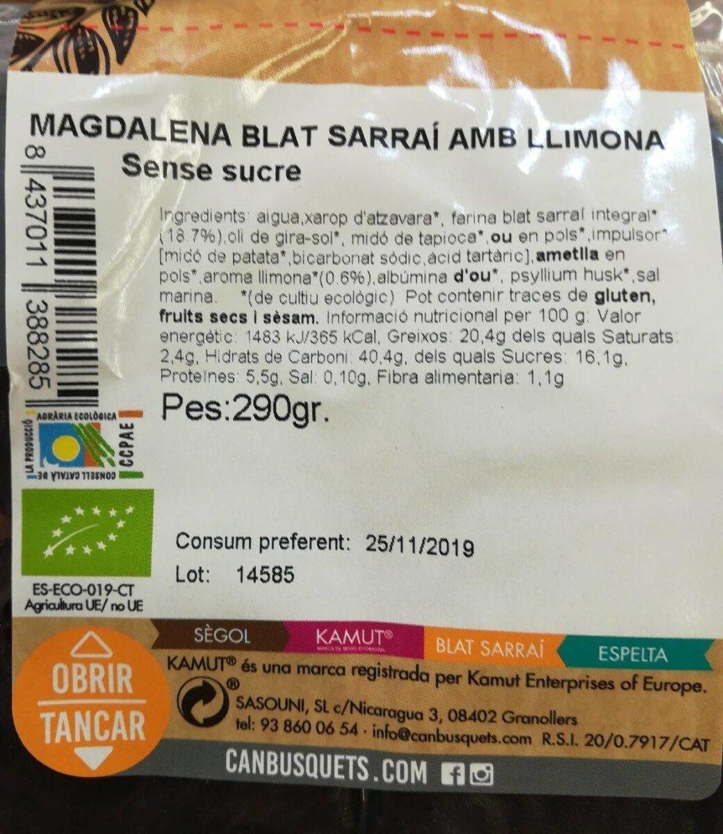 Magdalenas de  blat sarraí - Información nutricional - es