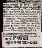 Aceite de lino - Información nutricional