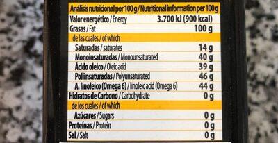 Aceite de Sésamo - Nutrition facts