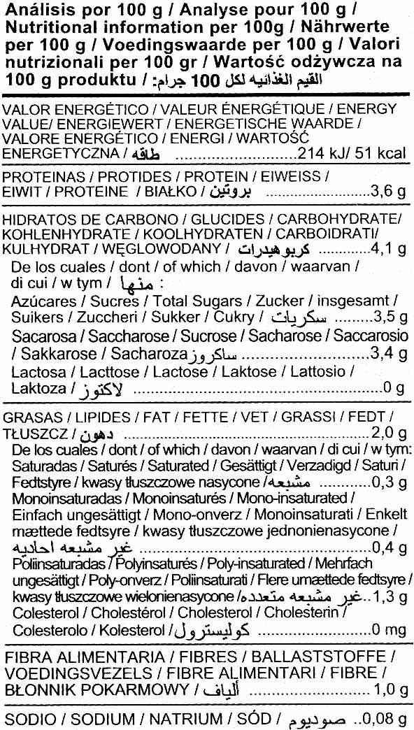 Bebida de soja Original - Nutrition facts - es