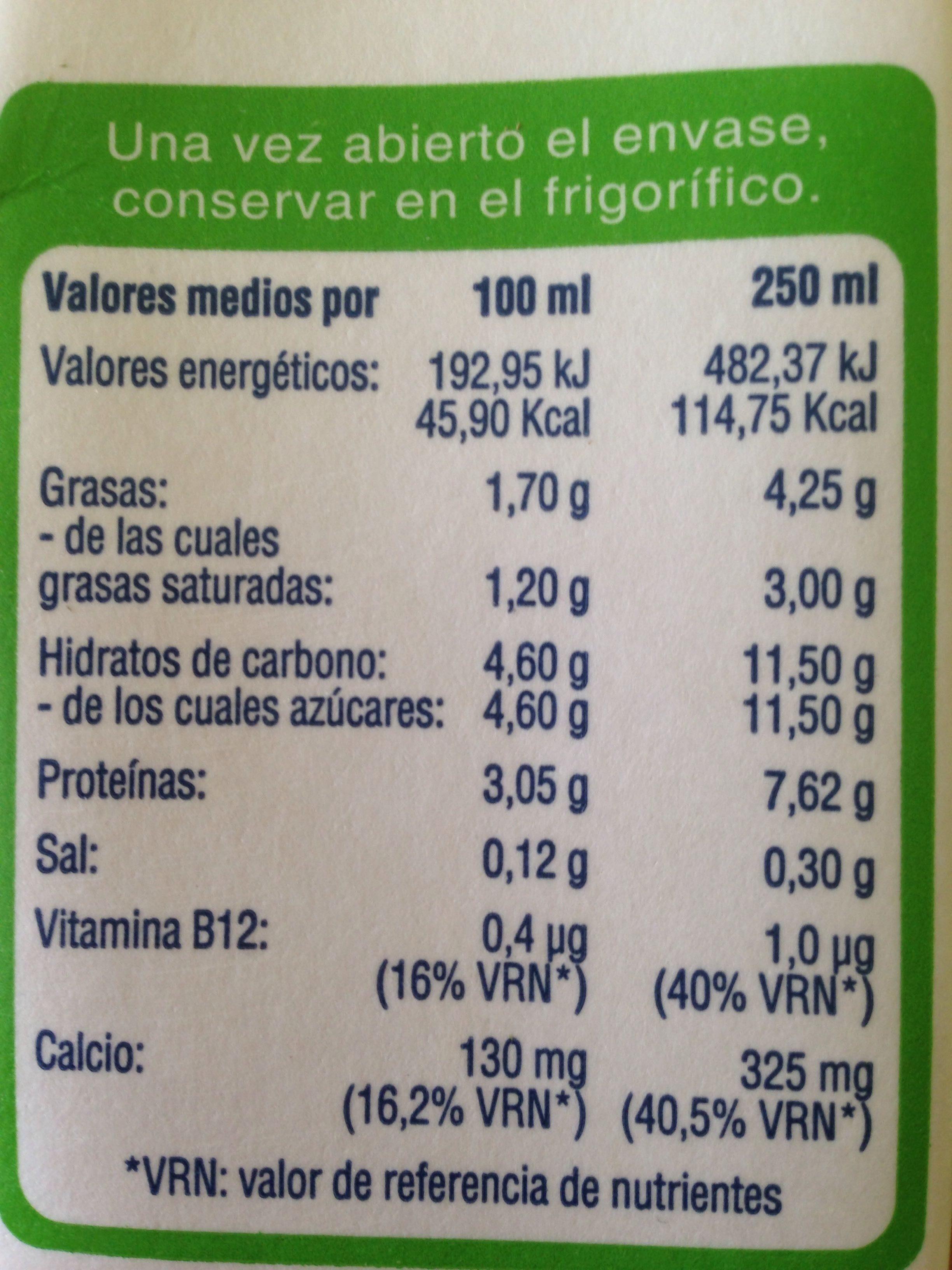 Leche UHT semidesnatada de vaca - Información nutricional