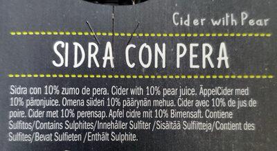 Sidra con pera - Ingredients - es