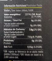Sidra con pera - Informació nutricional - es