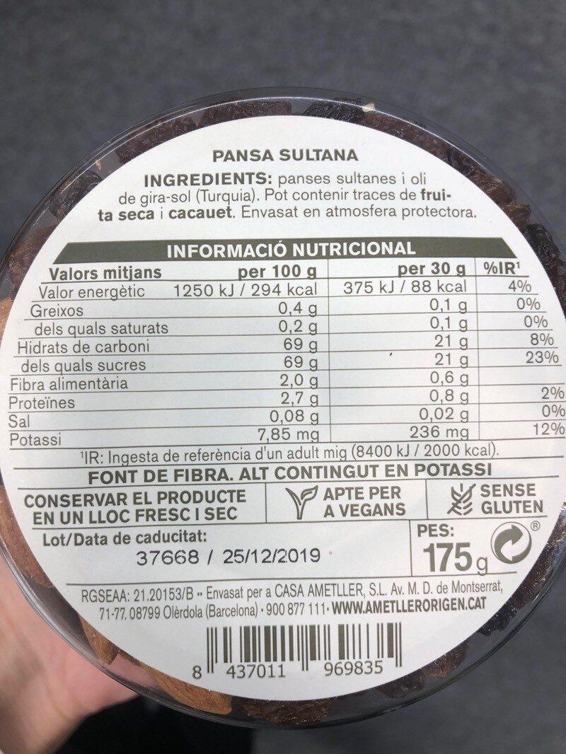 Pansa Sultana - Nutrition facts