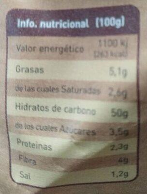 Pan de molde de trigo sarraceno - Información nutricional
