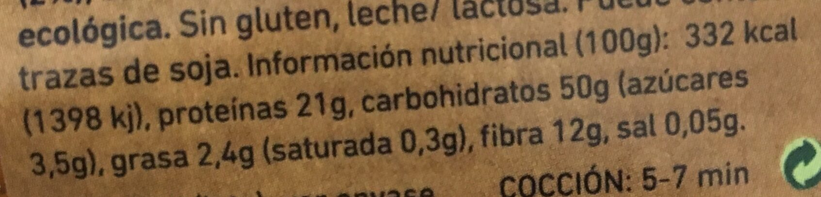 Fusilli garbanzo y curcuma - Información nutricional
