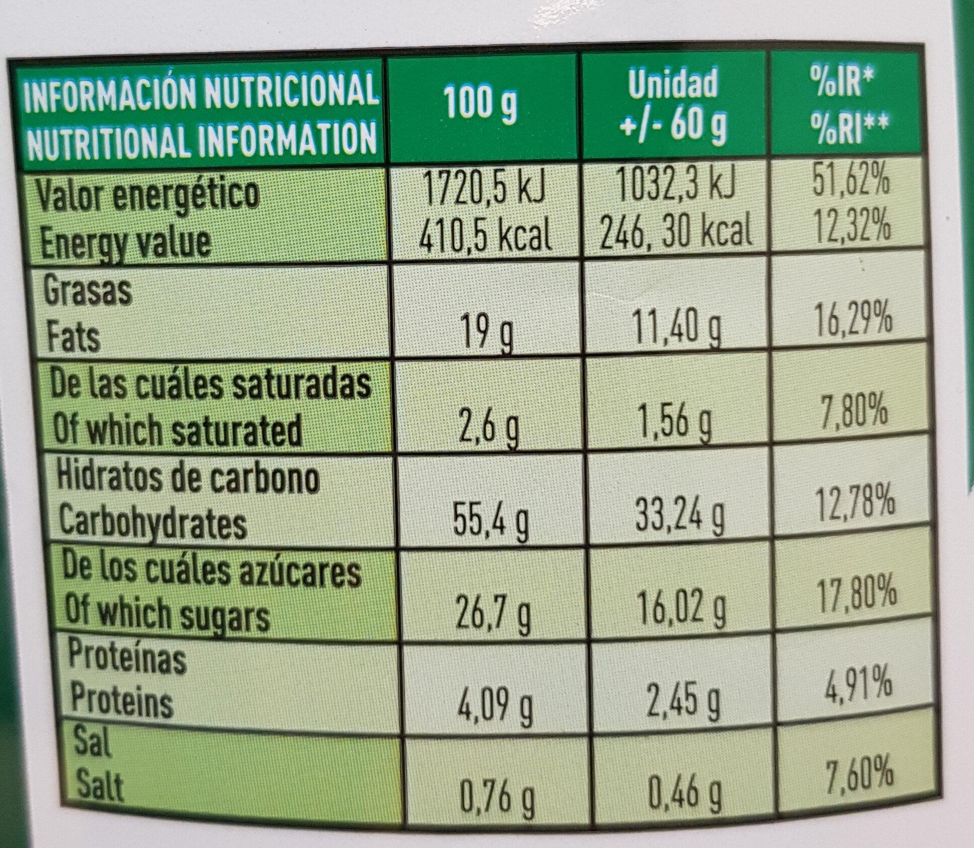 Mojicones - Información nutricional