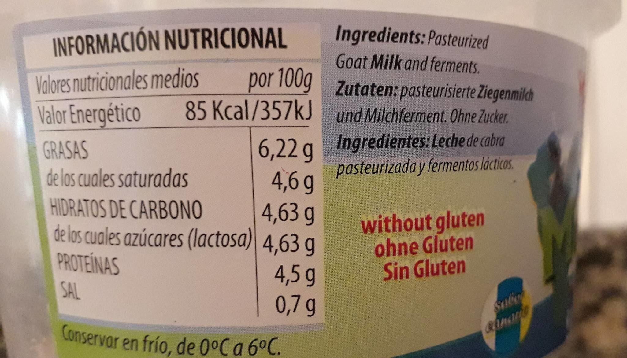 Yogourt natural monte breña - Información nutricional
