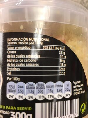 Taboulé de verduras - Información nutricional - es