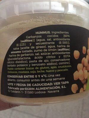 Hummus - Ingredientes - es