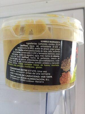Hummus Marrakech - Información nutricional - es