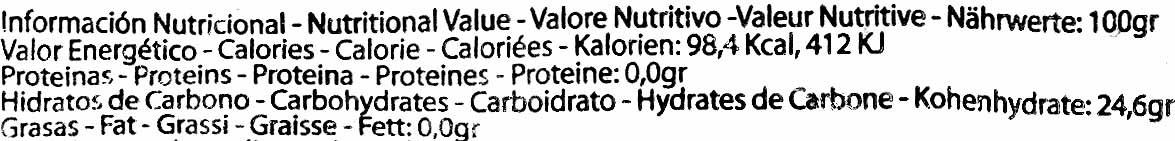 """Helado de hielo """"Helados Green"""" Mora - Informació nutricional"""