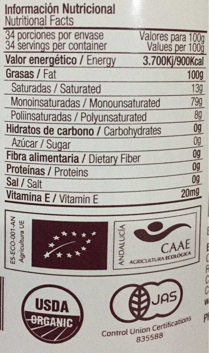 Aceite Ecológico Virgen Extra Duernas del Envero - Información nutricional - es