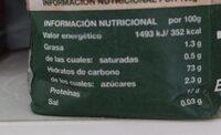 Harina de trigo ecológica w200 - Información nutricional - es