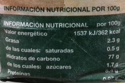Harina integral de centeno - Información nutricional