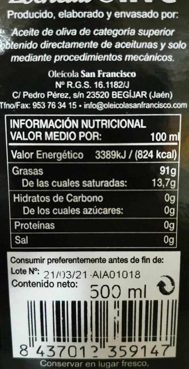 Aceite de oliva virgen extra - Nutrition facts - es