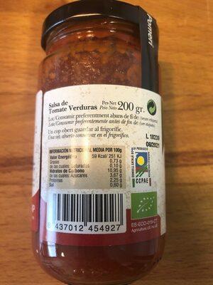 Tomate con verduras - Informations nutritionnelles