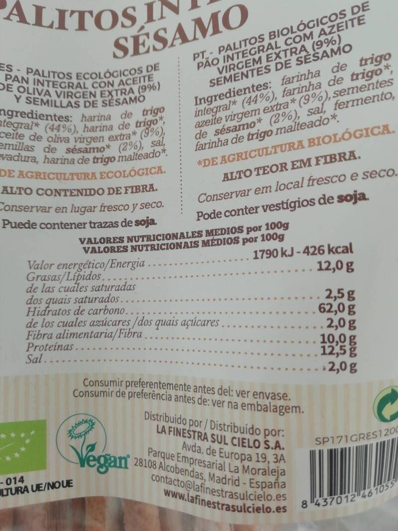 Palitos integrales sésamo - Ingredienti - es