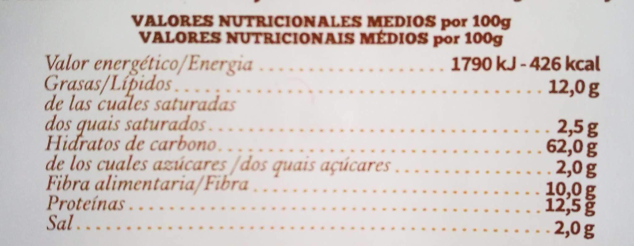 Palitos integrales sésamo - Valori nutrizionali - es
