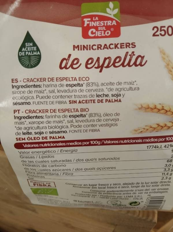 Minicrackers de espelta - Ingredientes