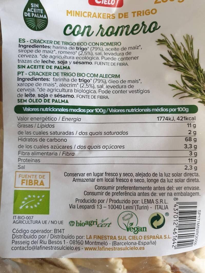 Minicrakers de trigo con romero - Informations nutritionnelles