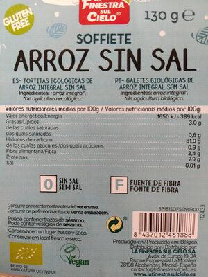 Tortitas ecologicas de arroz integral sin sal - Informations nutritionnelles