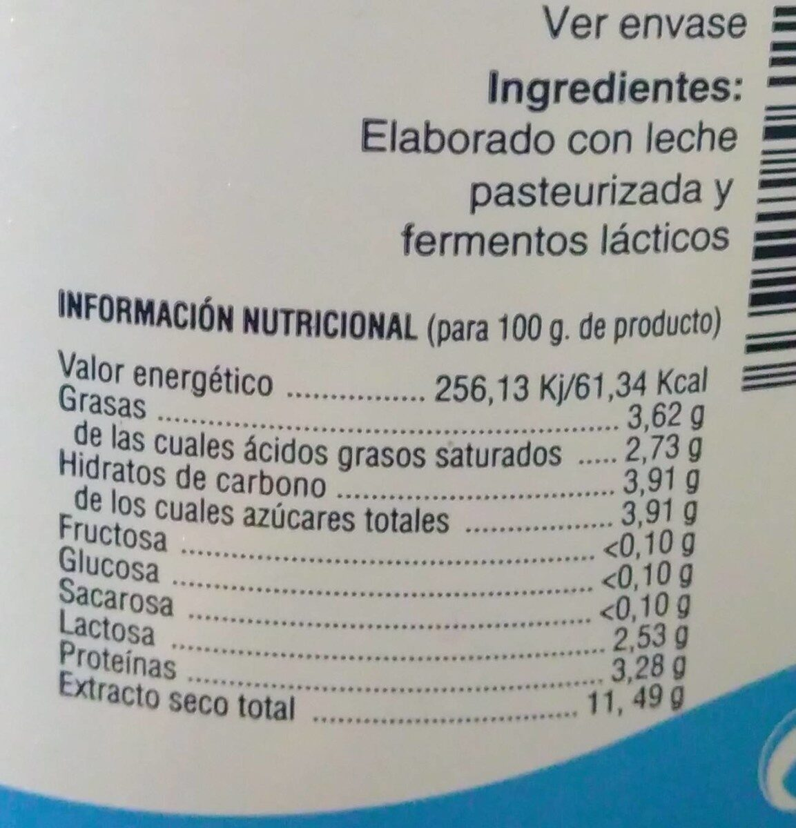 Yogur natural - Nutrition facts