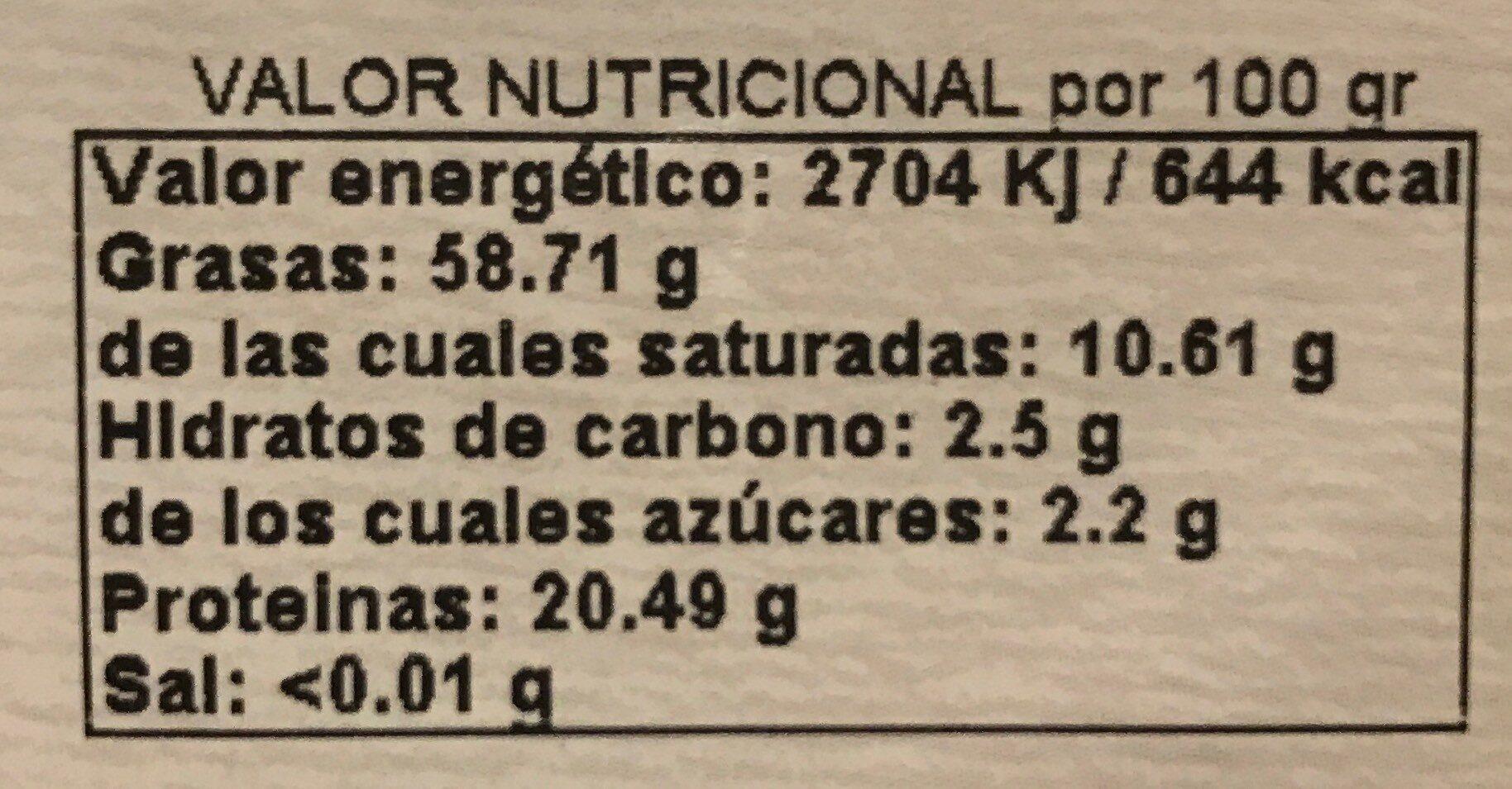 Almendras crudas bio - Información nutricional - es