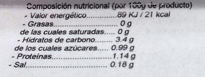 Ensalada Familiar Mixta - Información nutricional
