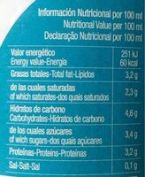 Leche vaca ecologica - Nutrition facts