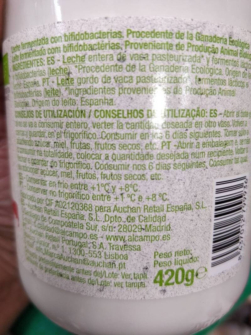 bifidus - Información nutricional