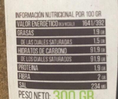 Azucar de coco - Información nutricional - es