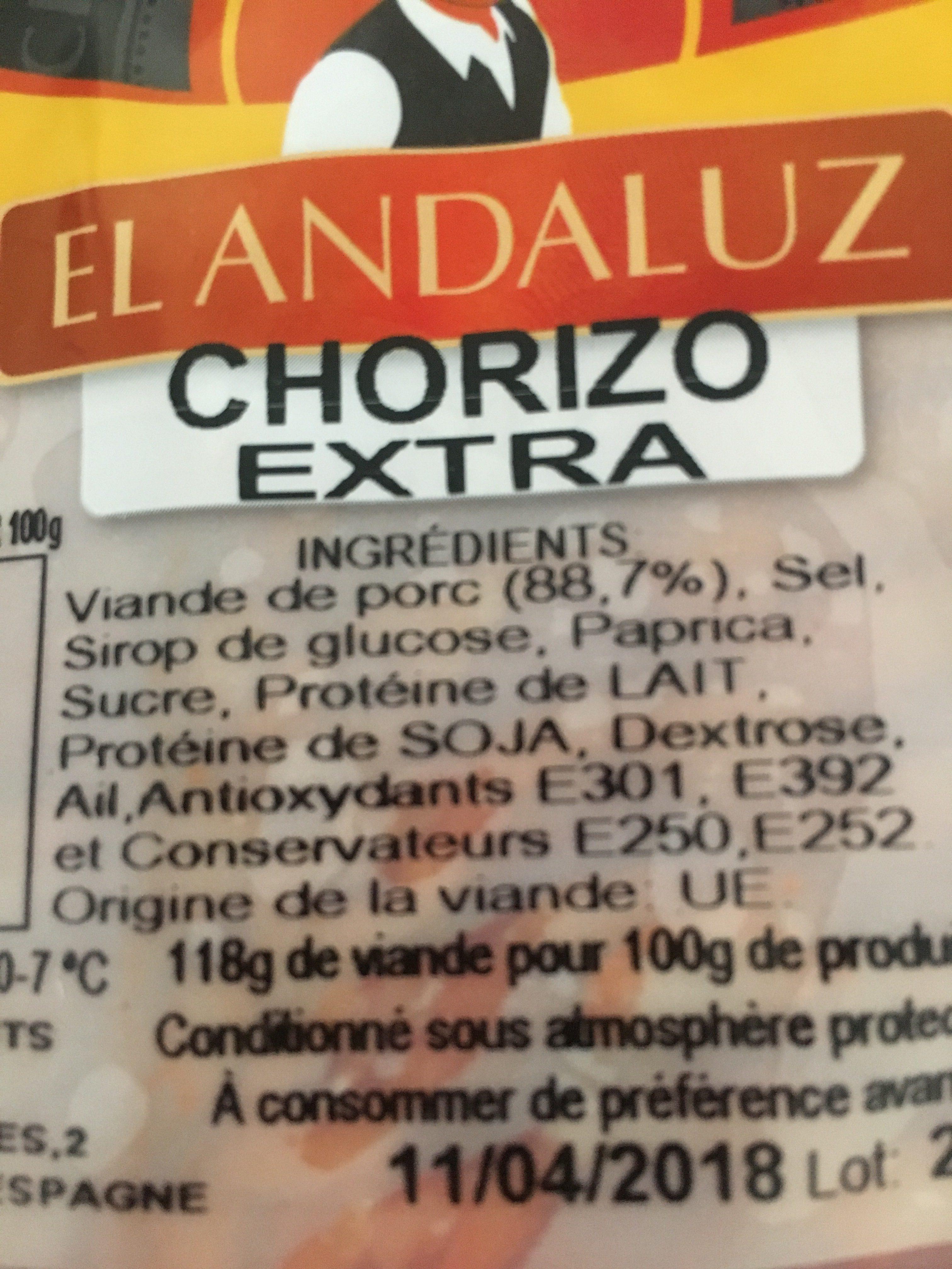 Chorizo extra - Ingrédients