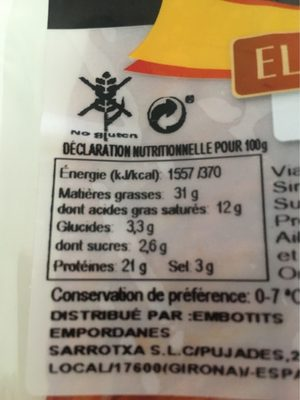 Chorizo extra - Informations nutritionnelles