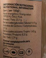 Salchicha mexicana - Informació nutricional