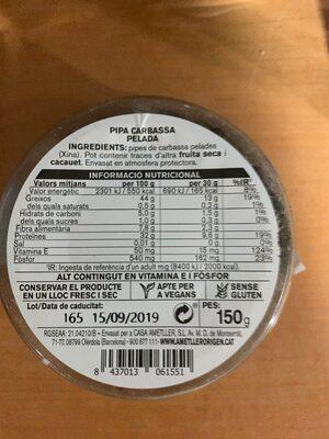 Pipa carbassa pelada - Ingredientes