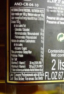 Aceite de Oliva Virgen Extra - Nutrition facts
