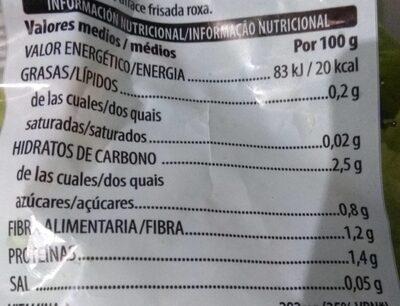 Lechuga tierna lavada - Información nutricional - es