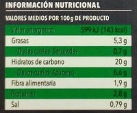 Tabulé con verduras frescas con vinagreta de menta - Informació nutricional - es