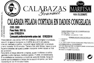 """Calabaza pelada en dados congelada """"Grupo Marfesa"""" - Informations nutritionnelles - es"""