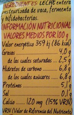 Yogur natural probiótico BÍFIDUS Bifidobacterium lactis Premium - Información nutricional - es